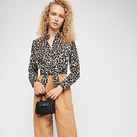 5f6a5824 Free People Tops | Leopard Love Printed Tie Top Shirt | Poshmark